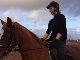 Horse-riding up at the farm