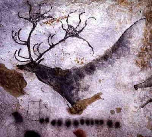 Figures géométriques et cervidés, grotte de Lascaux, Dordogne