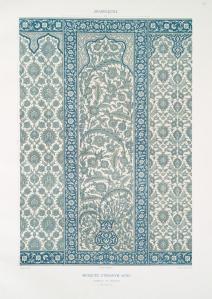 Prisse d'Avennes - L'art arabe 7 - mosquée d'Ibrahym Agha panneau en faïence (XVIe. siècle) (1877)