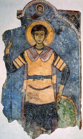 Saint Démétrios, fresque provenant de l'église de Saint-Antoine de Kellia. Chypre, Musée du monastère de Kykkos. © Kykkos, Musée du monastère.