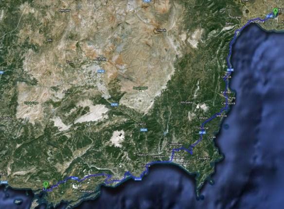 Route Antalya-Kas