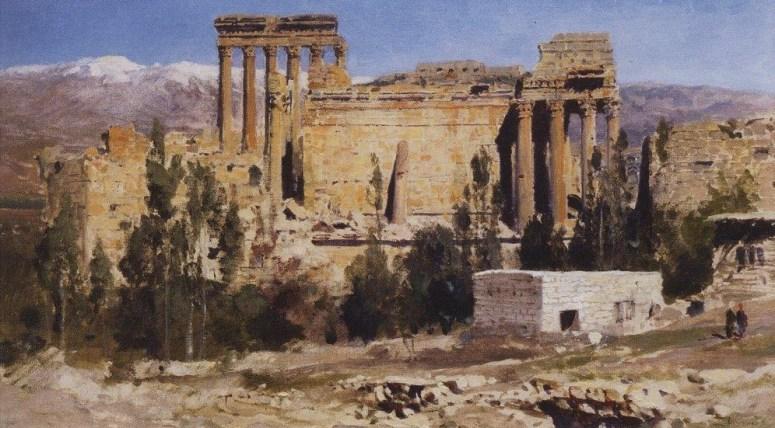 Vasili Dimitrievich Polenov (1844 - 1927) - Baalbek, ruines du temple de Jupiter et du temple du soleil - 1882
