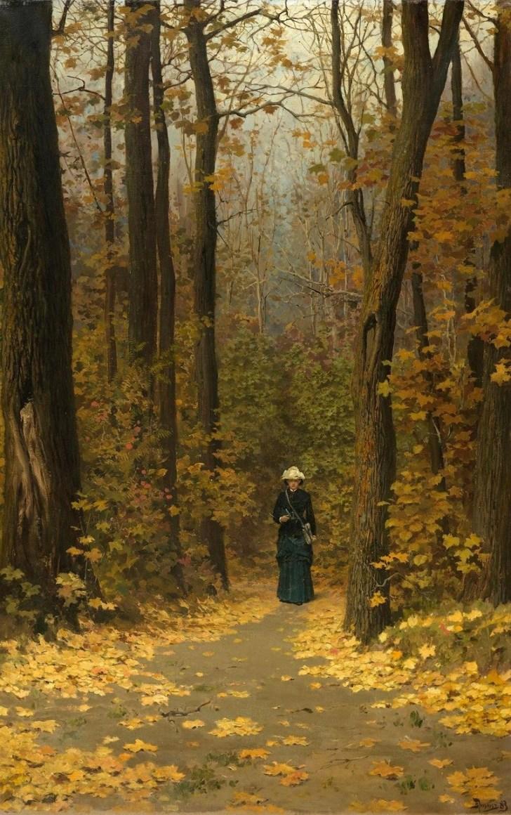 Vasili Dimitrievich Polenov (1844 - 1927) - Femme marchant dans la foret - 1883