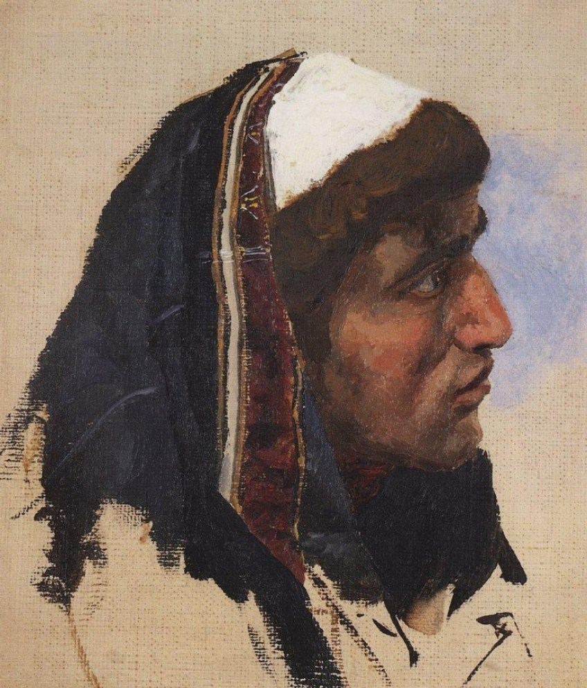 Vasili Dimitrievich Polenov (1844 - 1927) - Tête d'homme avec un voile bleu - 1885