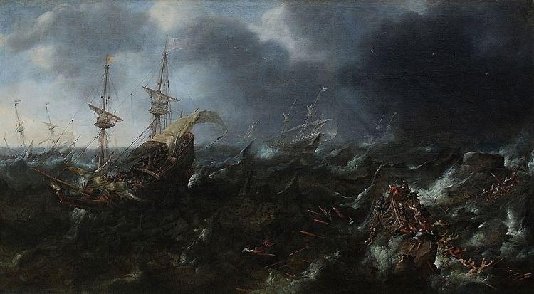 Andries van Eertvelt - Navires en perdition pendant la bataille de Lépante (1571), 1623. Museum of Fine Arts, Ghent.