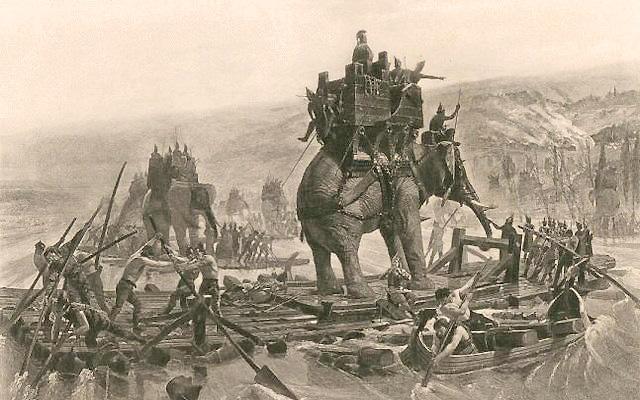 Hannibal traverse le Rhône - Henri Motte -1878