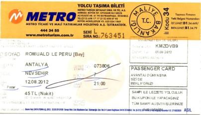 Billet pour Nevşehir - MetroTurizm