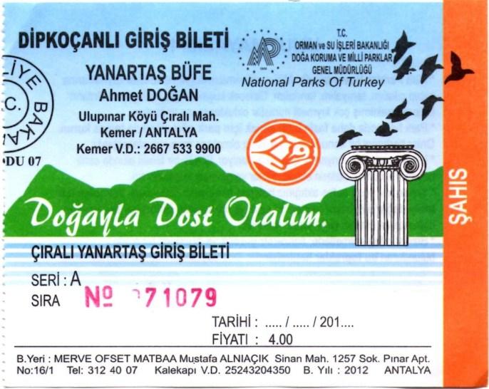Billet d'entrée pour le site de Yanartaş (Mont Chimère) à Çıralı