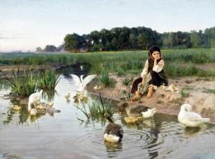 Jeune fille ukrainienne gardant les oies