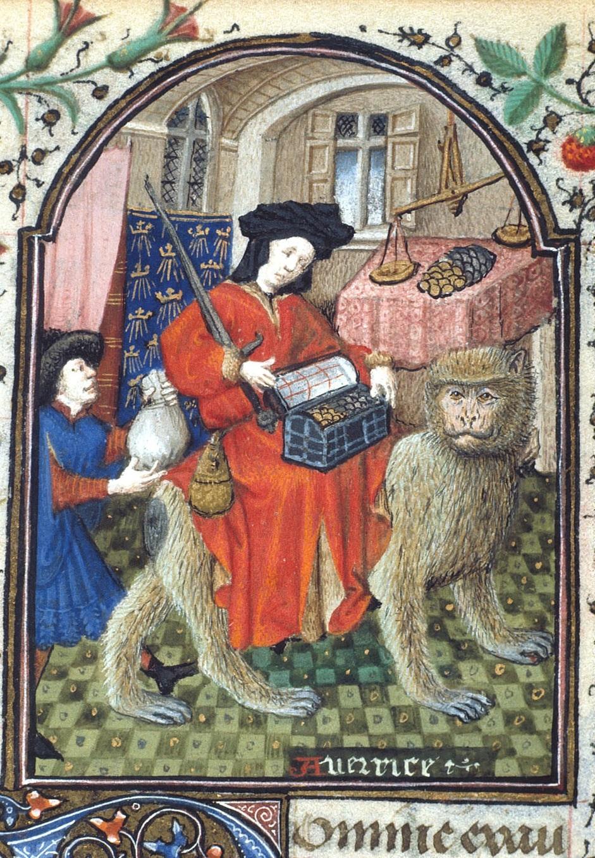 Heures de Dunois - Allégorie de l'avarice - 1436-1450 - British Library