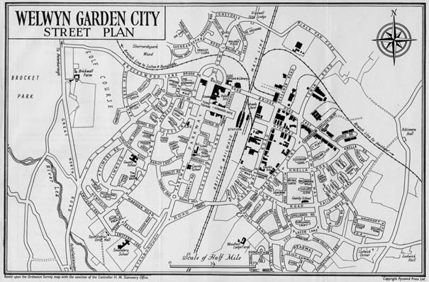 Plan de la cité-jardin de Welwyn