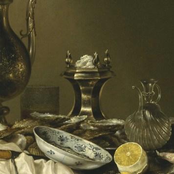 Willem Claeszoon Heda - Festin de jambon (détail sucre, verre et argenterie) - 1656 - 152x111cm - The Museum of Fine Arts - Houston