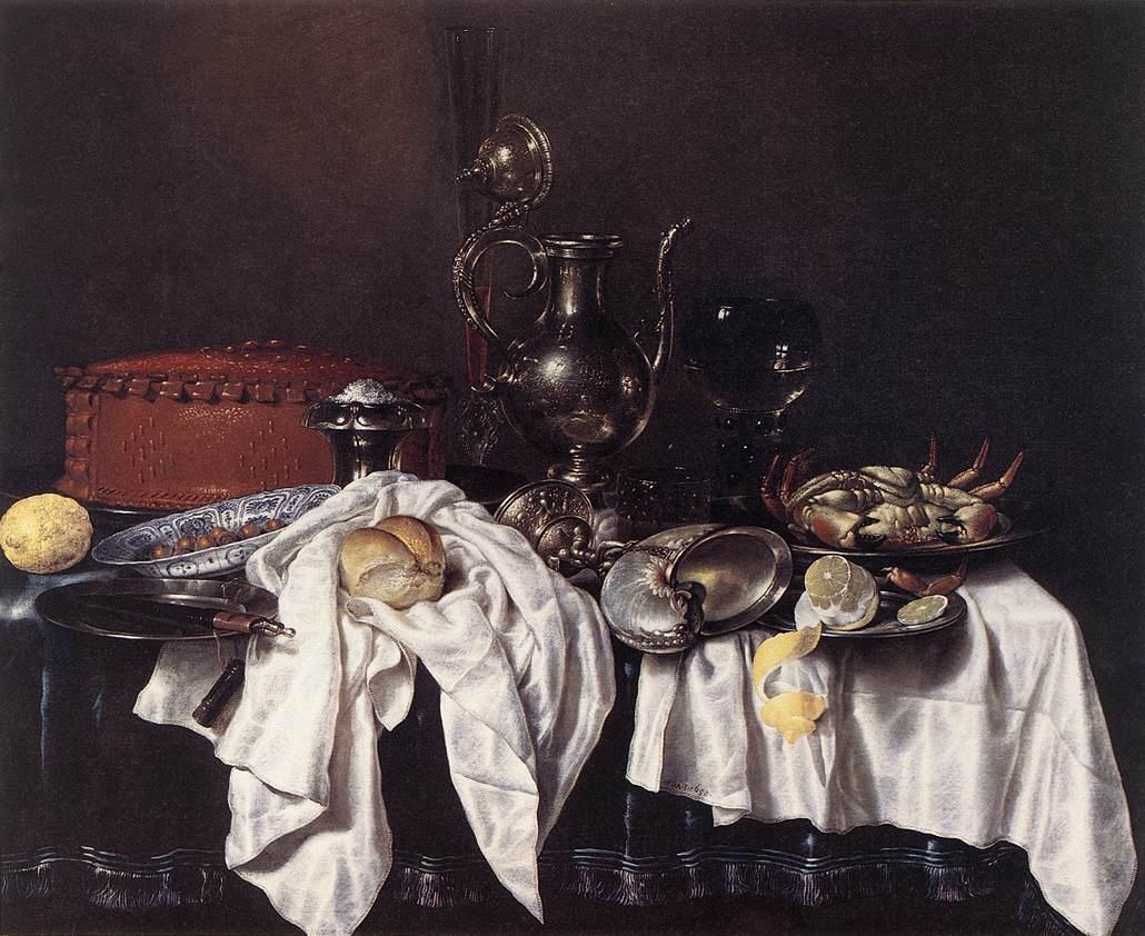 Willem Claeszoon Heda - Nature morte à la tourte, à l'aiguière d'argent et au crabe - 1658 - 103 x 123 cm - Frans Halsmuseum - Haarlem