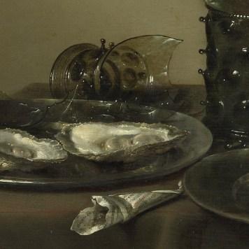 Willem Claeszoon Heda - Nature morte aux huîtres, Roemer, citron et coupe en argent (détail huîtres et verre cassé) - 1634 - 43x57cm - Museum Boijmans Van Beuningen - Rotterdam