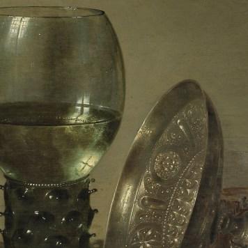 Willem Claeszoon Heda - Nature morte aux huîtres, Roemer, citron et coupe en argent (détail verre et coupe) - 1634 - 43x57cm - Museum Boijmans Van Beuningen - Rotterdam