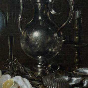 Willem Claeszoon Heda - Nature morte avec coupe Nautilus (détail des gris) - 1654 - Museum of Fine Arts - Budapest