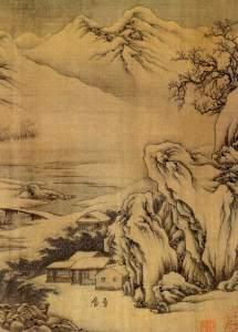 Wang Wei - paysage enneigé au bord de la rivière