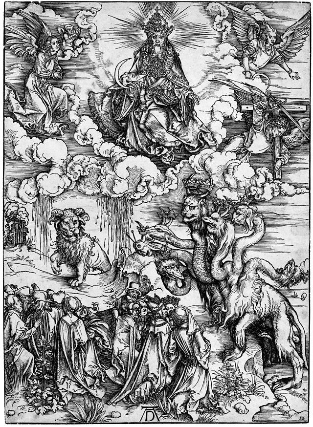 Albrecht Dürer - Révélation de Saint-Jean (12) Le monstre des mers et la Bête à cornes d'agneau