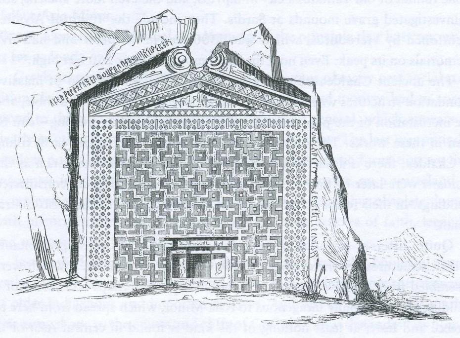 Façade de la tombe de Midas, planche tirée de G. Semper, Der Stil, Munich, 1860