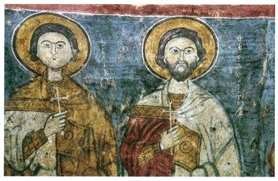 Église de Tatlarin - Deux des saints martyrs peints dans la voûte de la nef - Philikas et Théodoritos in La Cappadoce de Catherine Jolivet-Lévy