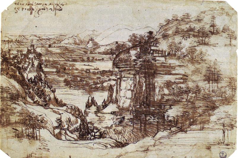 Leonardo da Vinci - Paysage de la vallée de l'Arno - 1473 - Galerie des Offices - Florence