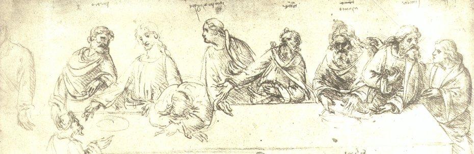 Leonardo da Vinci - Etude pour la Cène - Venise - Galerie de l'Académie