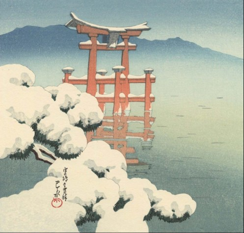 Scène de neige à Miyajima