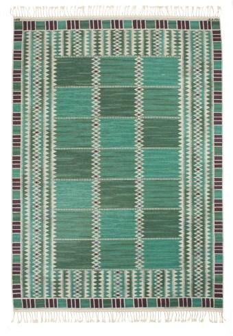 Barbro Nilsson, Salerno green rug,307x 222 cm, sold Uppsallas Auktionskammare 6/15/16