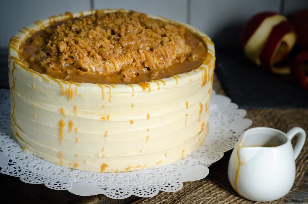 Salted Caramel Apple Streusel Cake