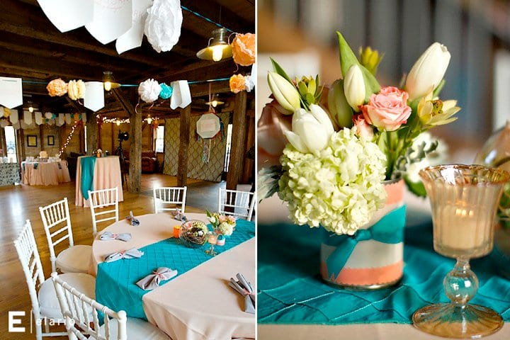 Peach-white-teal-wedding-colors-centerpiece-ideas