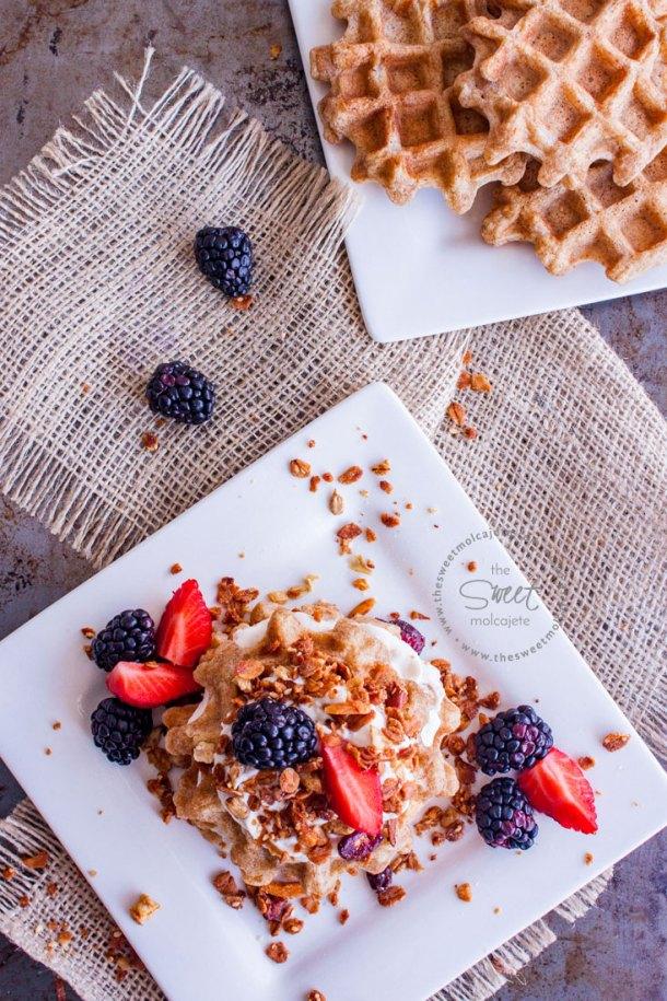 Vista aérea de un plato con Waffles Integrales Saludables acompañados de yogurt, fresas, zarzamoras y granola