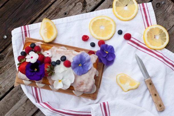 Blueberry Lemon Poundcake with Edible Flowers
