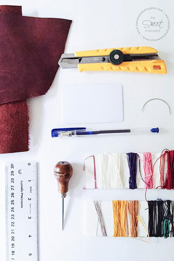 Materiales para hacer una cartera de piel para el dia del padre