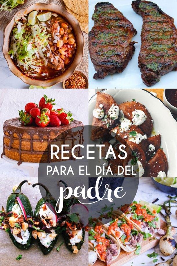Collage de 6 fotos con comida para celebrar el Dia del Padre