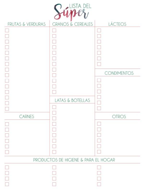 Imprimibles gratis para que hagan un plan semanal de comidas, incluye hoja para la lista del súper. ¡Perfecto para mantener sus menús semanales súper organizados!