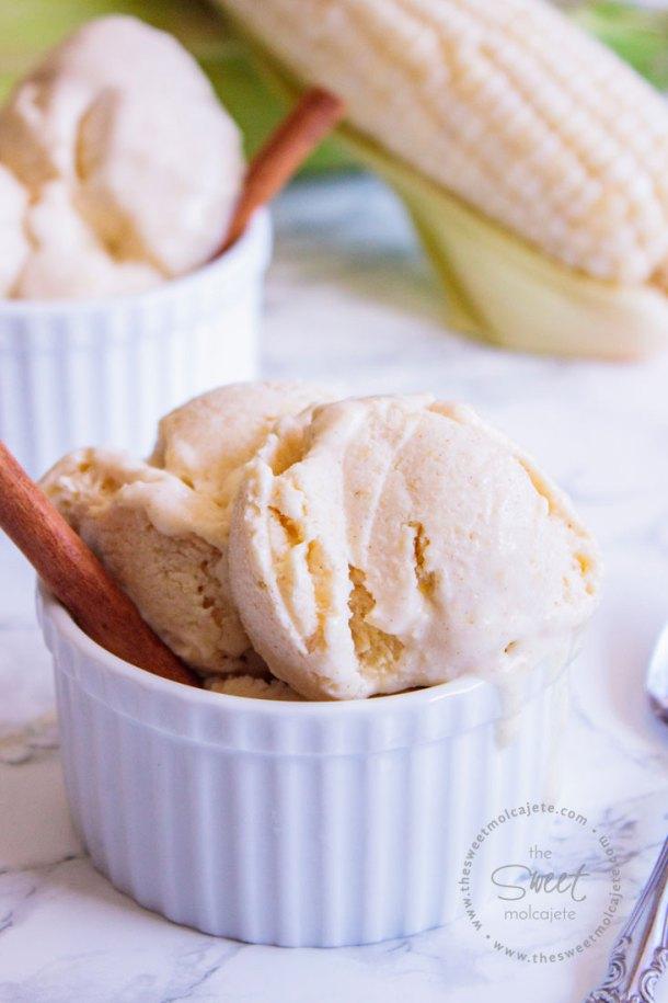 Helado de Elote hecho en licuadora Vitamix. El helado está servido en un ramekin blanco y tiene una varita de canela en uno de los costados como adorno