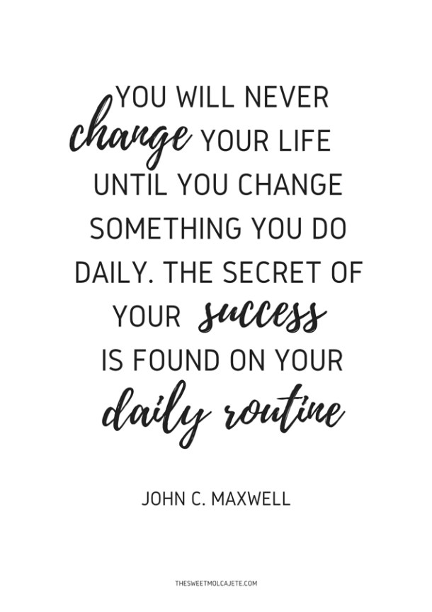 Cita de John C Maxwell: You will never change your life until you change something you do daily. The secret of your success is found on your daily routine.