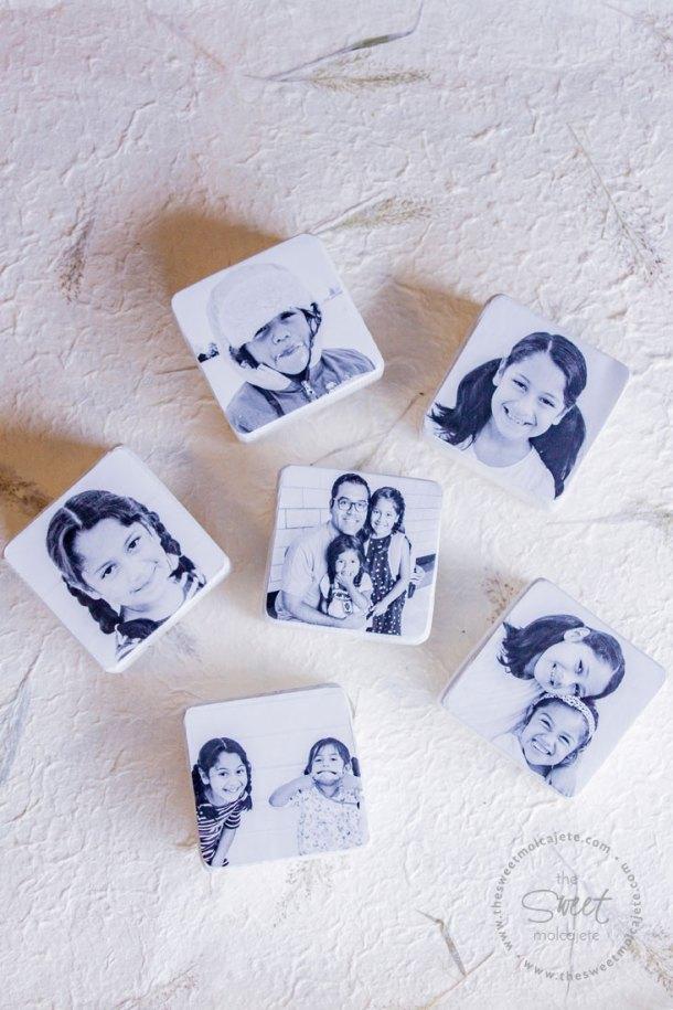 Foto de arriba de 6 bloques de madera con fotos en blanco y negro para regalo de dia del padre
