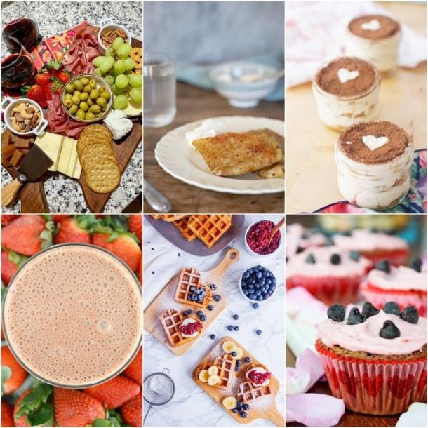 collage de 6 recetas para San Valentin