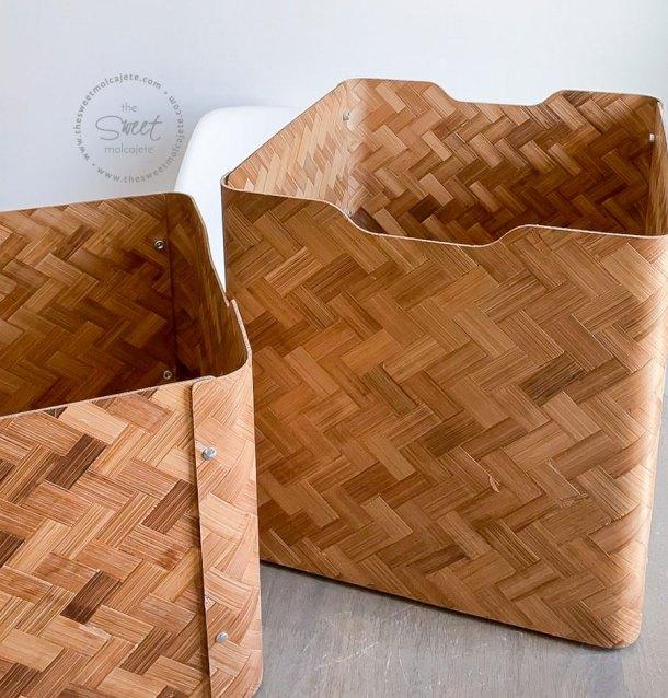 cajas de bamboo (bullig de ikea) para organizar la despensa