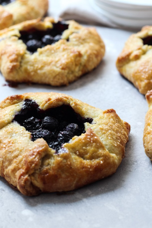 Blueberry galettes with a cornmeal crust