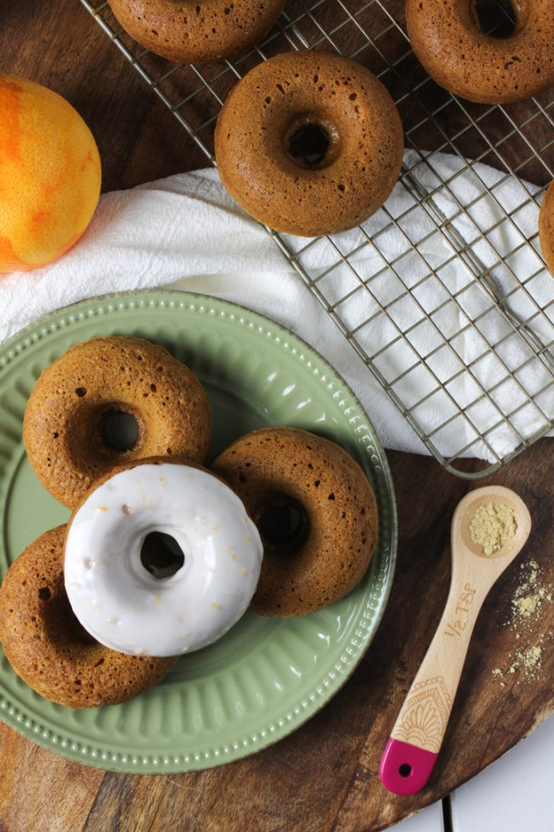 Gingerbread Doughnuts with Orange Ginger Glaze