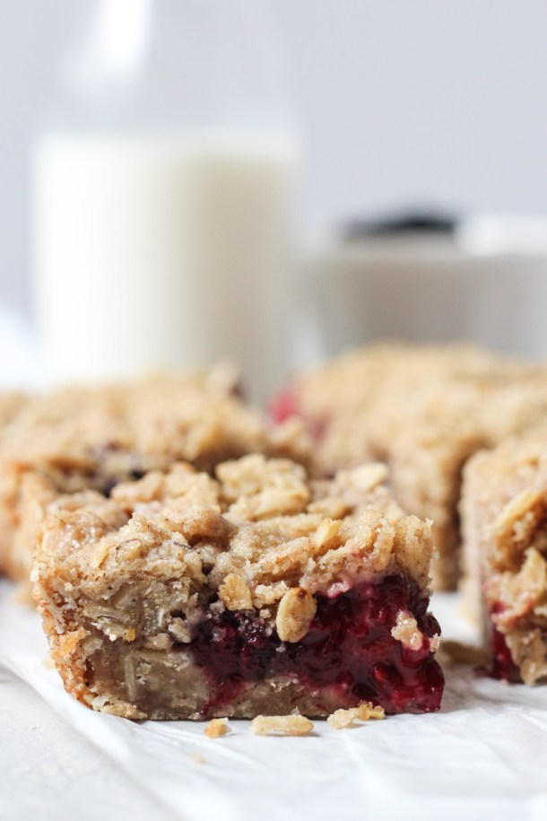 Close up of blackberry bars with crumble topping cut into squares.