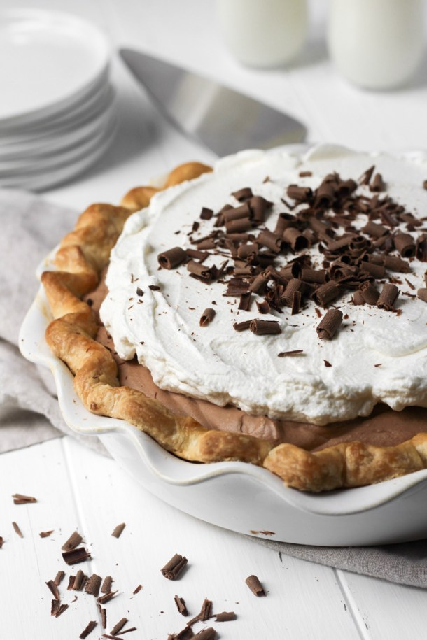 French silk pie with chocolate shavings