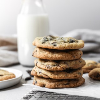Stack of chocolate chip cookies.