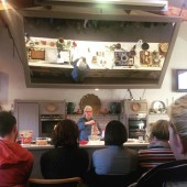 Darina in the demonstration kitchen showing us real cinnamon