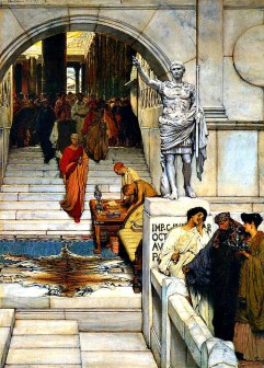 An audience grwith Agrippa by Alma-Tadema