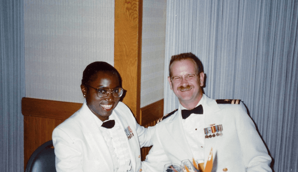 Karla and Don in their Dinner Dress Whites at a Dining Out in Hawaii hosted by Don's squadron.