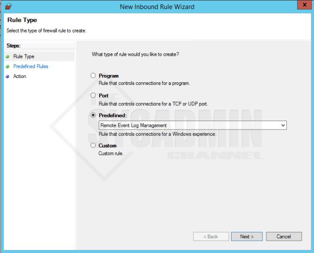 Enable Inbound Firewall Rule for Remote Event Log Management