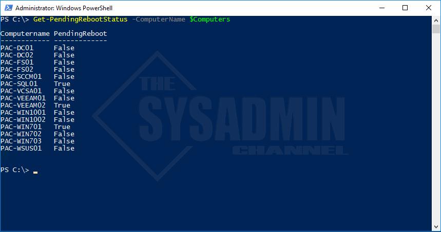 Remotely Check Pending Reboot Status Using Powershell